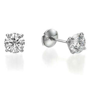 1 ct Round Brilliant Cut Diamond Stud Earrings