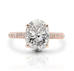 3.71 ct Oval Cut Diamond Engagement Ring Rose Gold