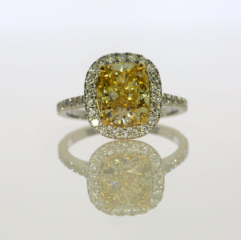 3.76 ct Fancy Yellow Cushion Cut Diamond Engagement Ring