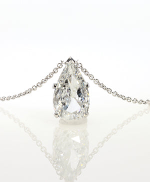 2.02 ct Pear Shape Diamond Solitaire Pendant Necklace