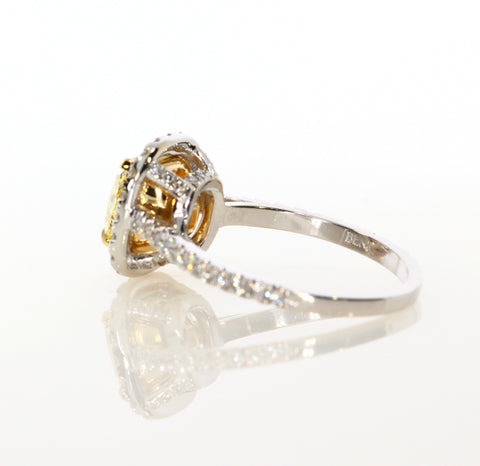 2.58 ct Fancy Yellow Cushion Cut Diamond Engagement Ring