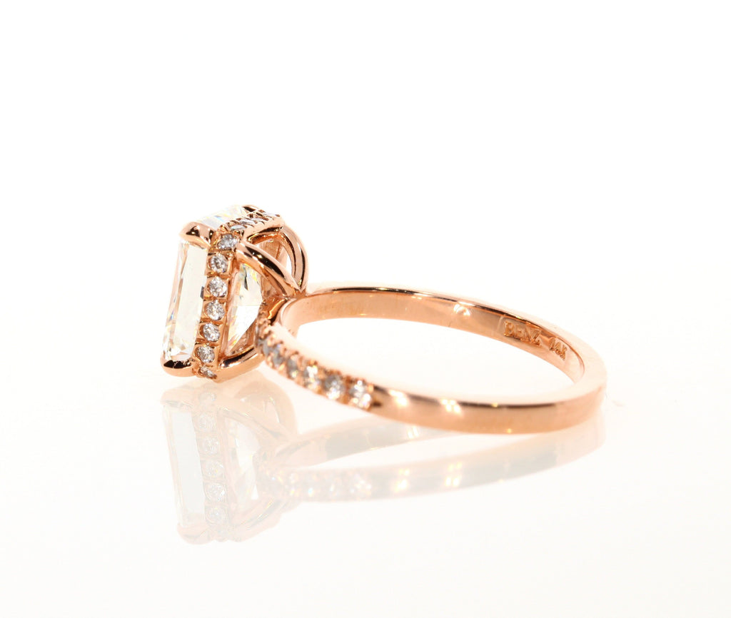 2.60 ct Radiant Cut Diamond Engagement Ring in Rose Gold