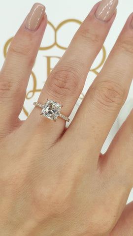 2.50 Carats Cushion Cut Micropave Side Stones Hidden Halo Diamond Engagement Ring