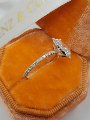 2.50 Carats Oval Cut Micropave Halo Side Stones Diamond Engagement Ring