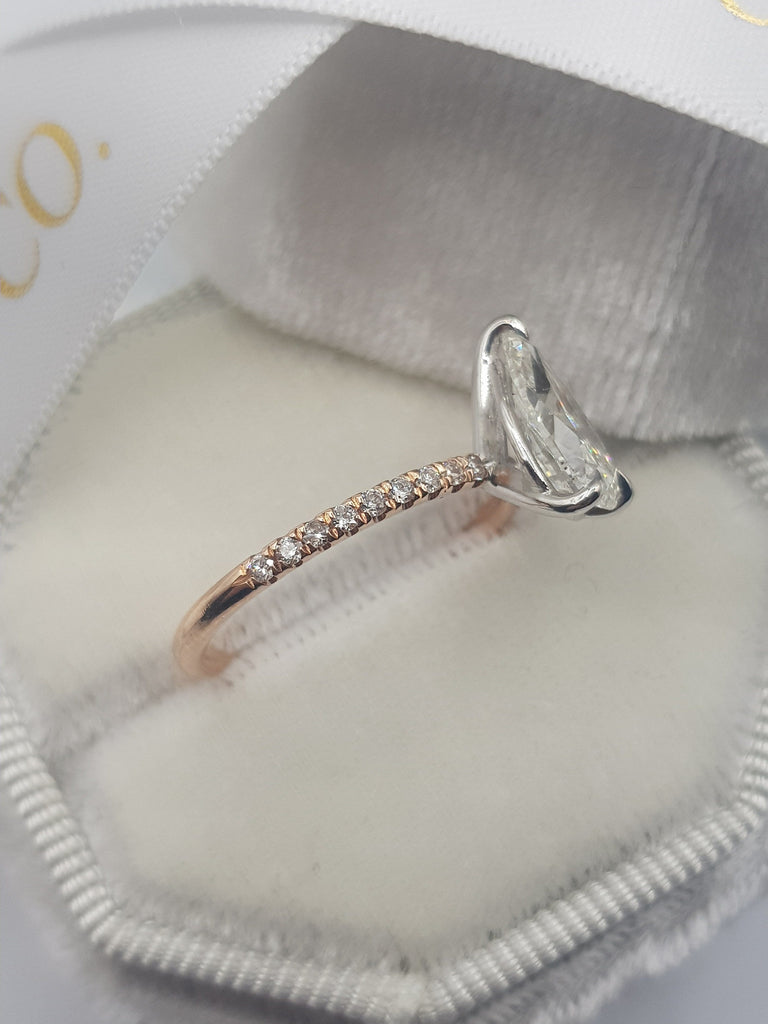 1.75 Carats Pear Shape Two-Tone Micropave Side Stones Diamond Engagement Ring