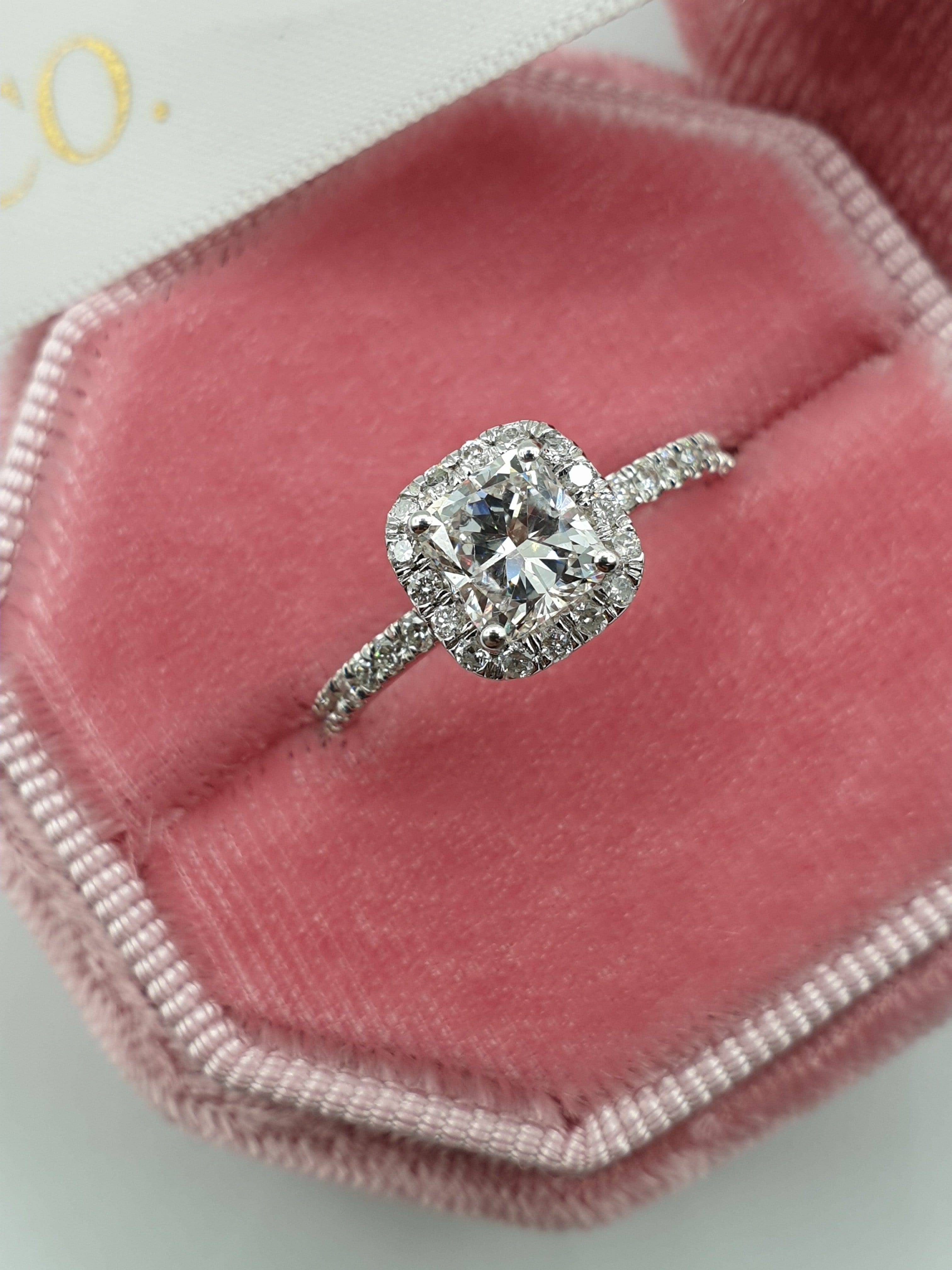 1.75 Carats Cushion Cut Micropaved Halo Side Stones Diamond Engagement Ring