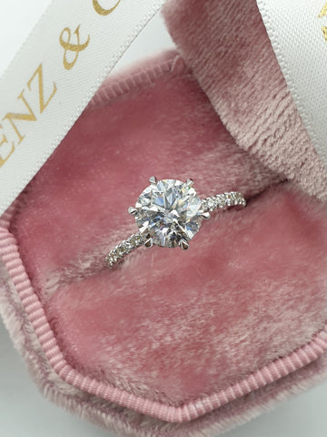 1.55 Carats Round Brilliant Cut Micropave Side Stones Hidden Halo Diamond Engagement Ring