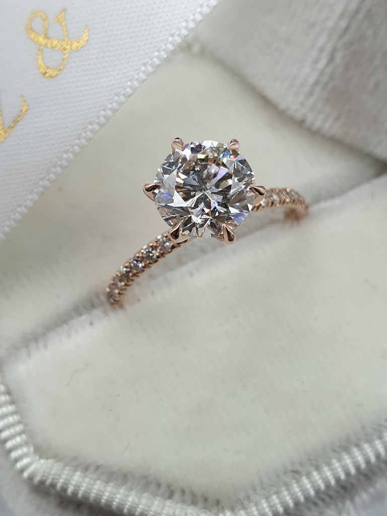 2.20 Carat Round Brilliant Cut Micropave Side Stones Diamond Engagement Ring