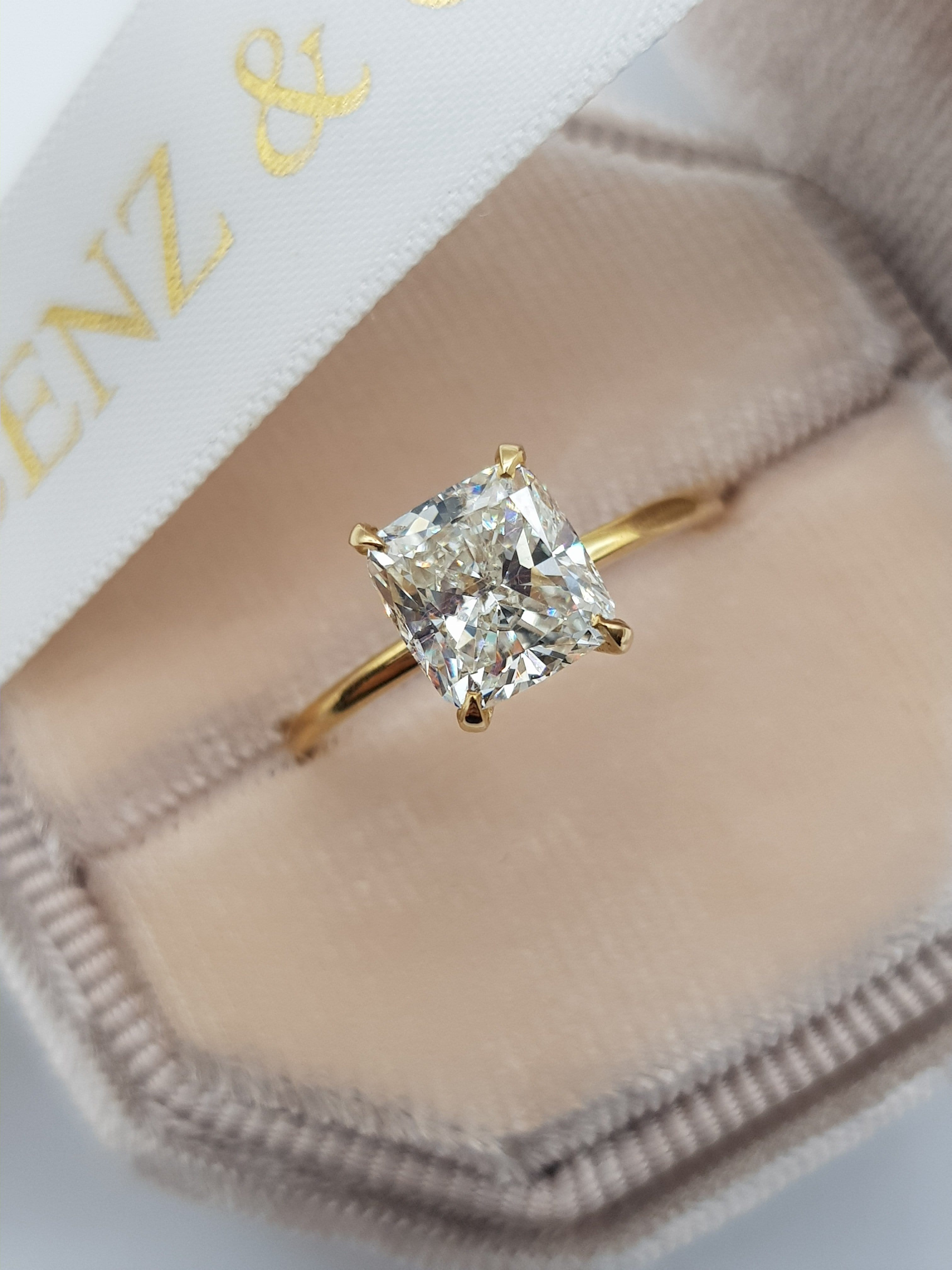 1.73 Carat Cushion Cut Solitaire Diamond Engagement Ring