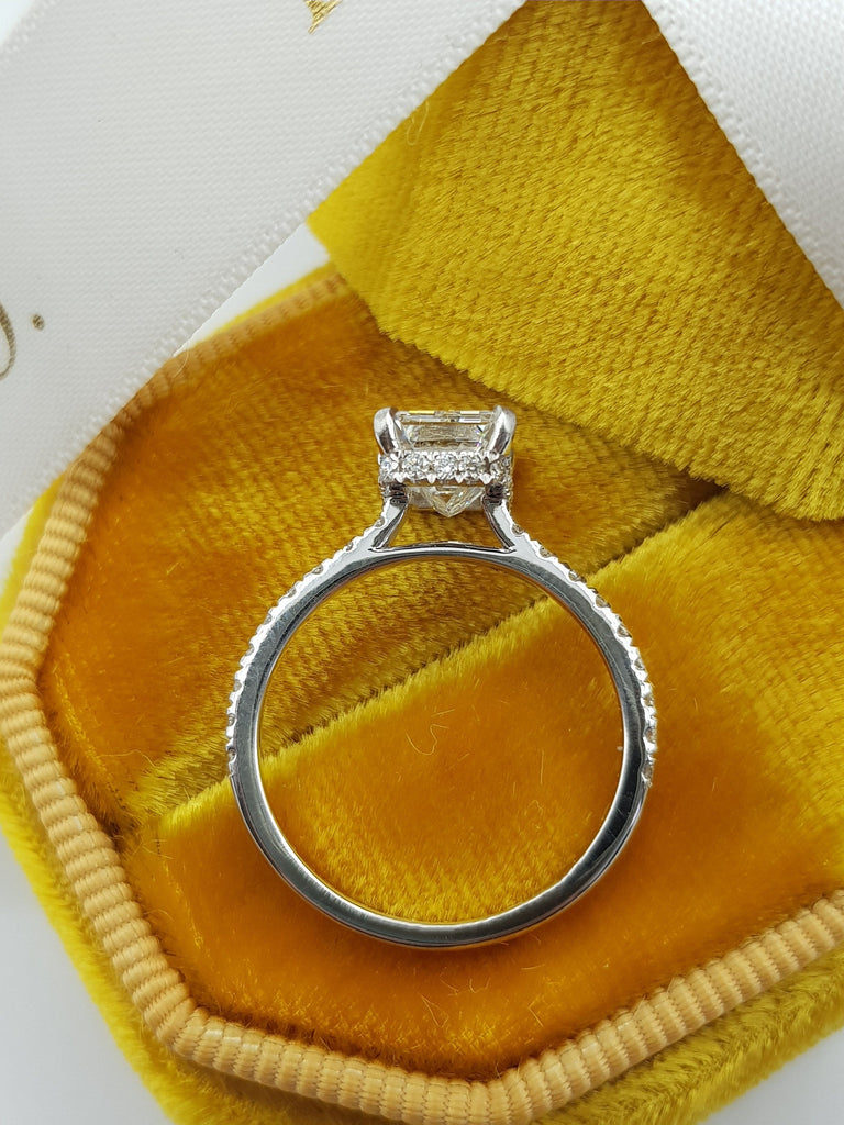 2.05 Carat Emerald Cut Hidden Halo Micropaved Diamond Engagement Ring