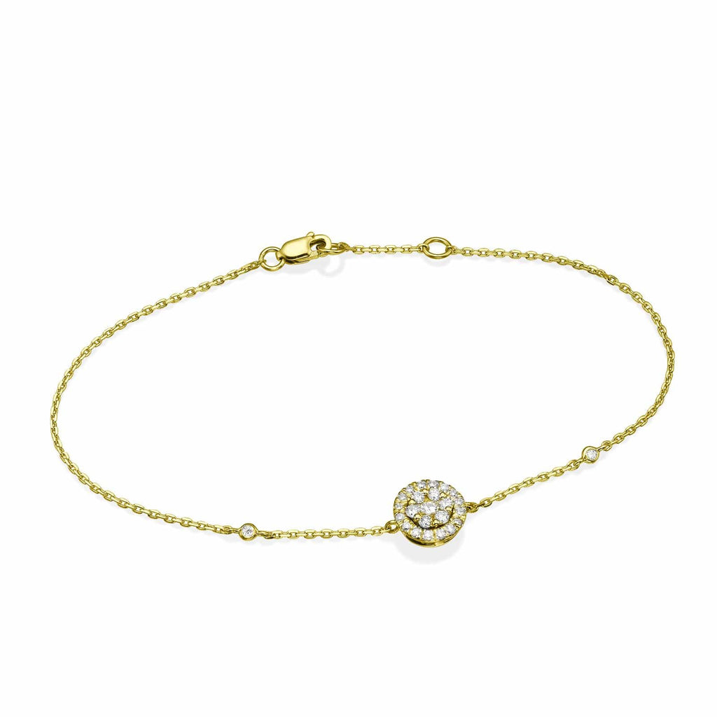 Round Diamond Cluster Bracelet In 18K Gold