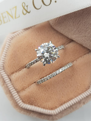 2.50 Carats Round Brilliant Cut Micropave Side Stones Hidden Halo Diamond Engagement Bridal Set