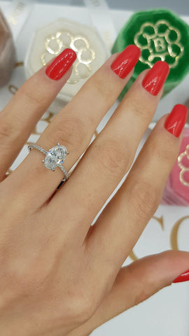 2.10 Carats Oval Cut Micropave Side Stones Hidden Halo Diamond Engagement Ring