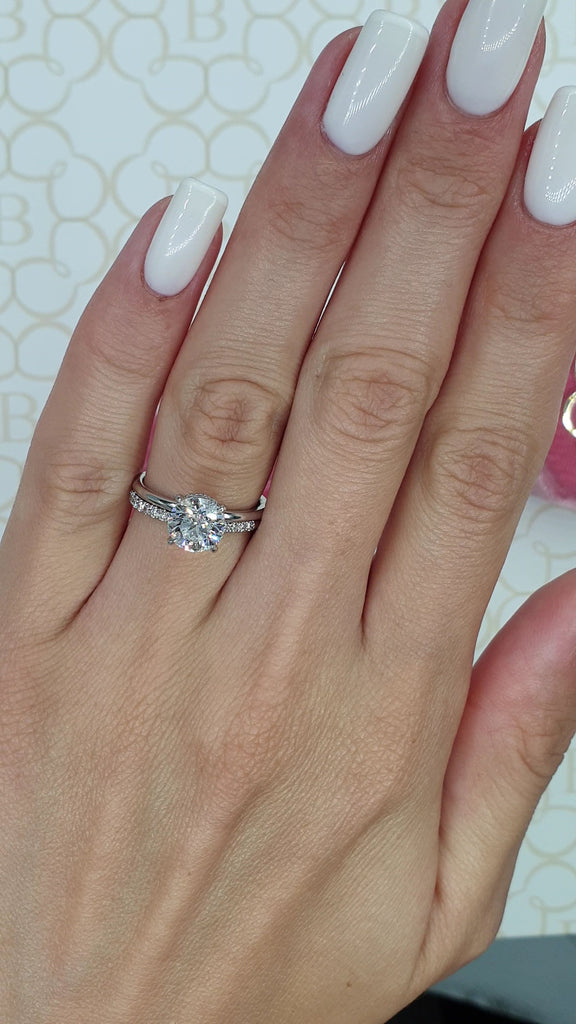 1.70 Carats Round Brilliant Cut Hidden Halo Diamond Engagement Ring