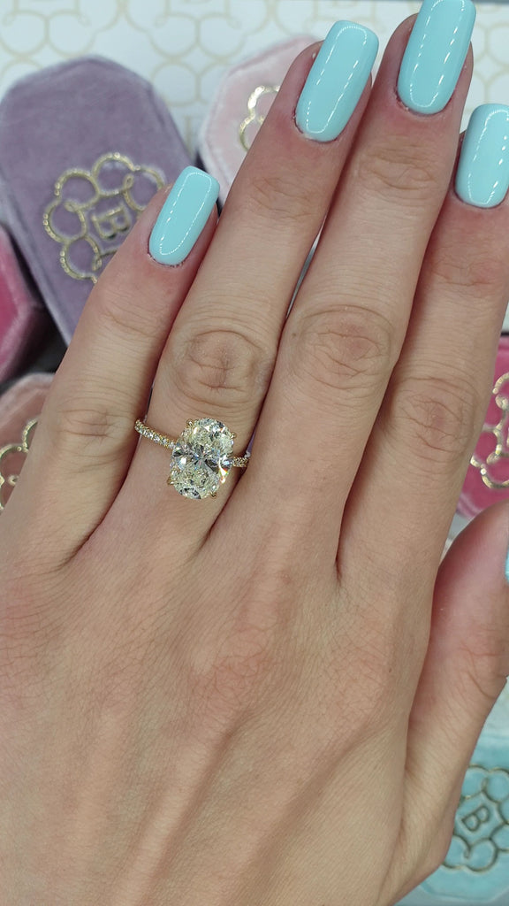 4.80 Carats Oval Cut Micropaved Side Stones Hidden Halo Diamond Engagement Ring