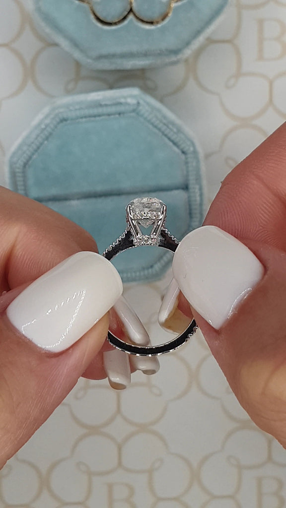 3.20 Carats Oval Cut Micropave Side Stones Hidden Halo Diamond Engagement Ring