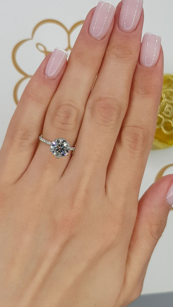 2.55 Carats Round Brilliant Cut Micropave Side Stones Hidden Halo Diamond Engagement Ring