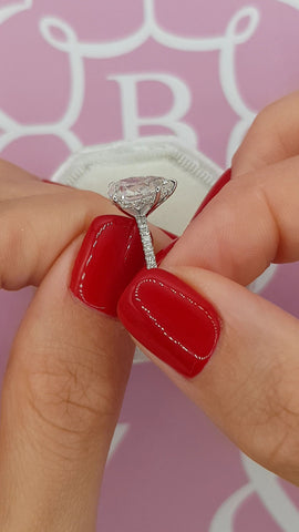 2.55 Carats Pear Shape Side Stones Hidden Halo Diamond Engagement Ring