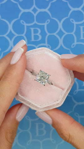 5 Carats Cushion Cut Micropave Side Stones Hidden Halo Diamond Engagement Ring
