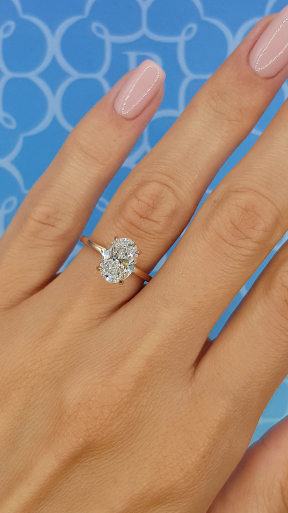 2.15 Carats Oval Cut Solitaire Hidden Halo Diamond Engagement Ring