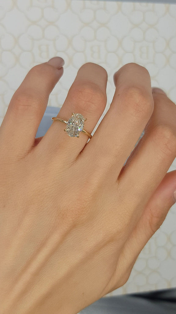 2.03 Carat Oval Cut Solitaire Diamond Engagement Ring