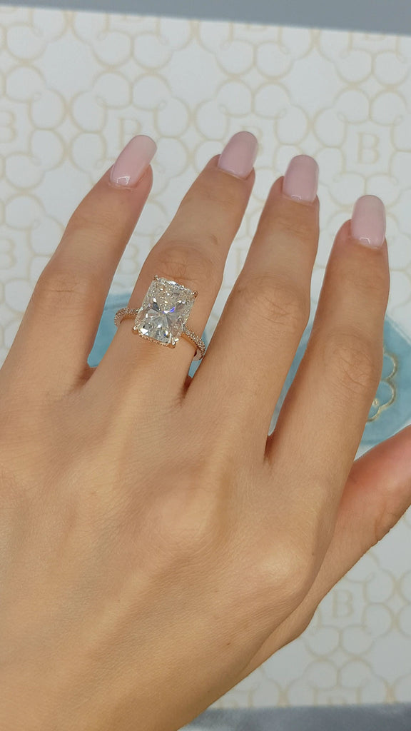 6.30 Carats Radiant Cut Cathedral Hidden Halo Micropaved Side Stones Diamond Engagement Ring