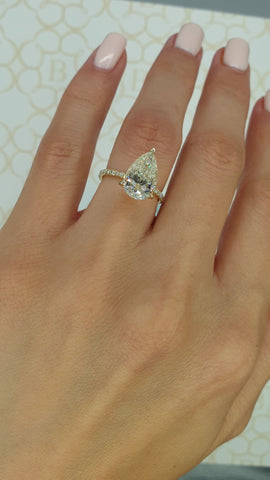 4 Carats Pear Shaped Micropaved Side Stones Hidden Halo Diamond Engagement Ring