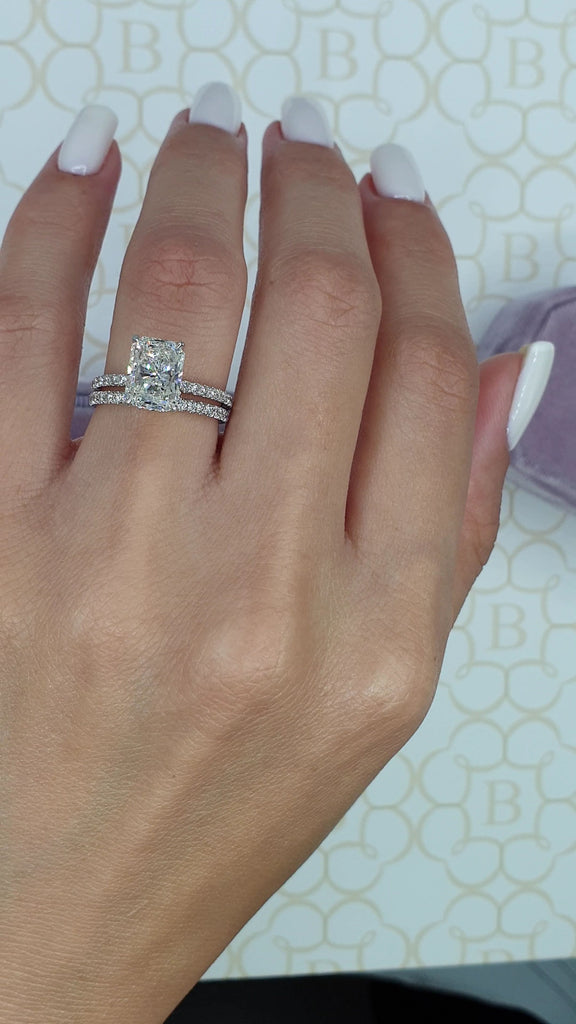 3 Carats Radiant Cut Micropaved Side Stones Hidden Halo Diamond Engagement Ring