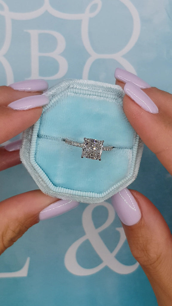 2.55 Carats Cushion Cut Micropave Side Stones Hidden Halo Diamond Engagement Ring