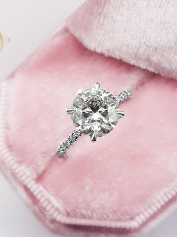 2.50 Carats Round Brilliant Cut Micropave Side Stones Hidden Halo Diamond Engagement Ring