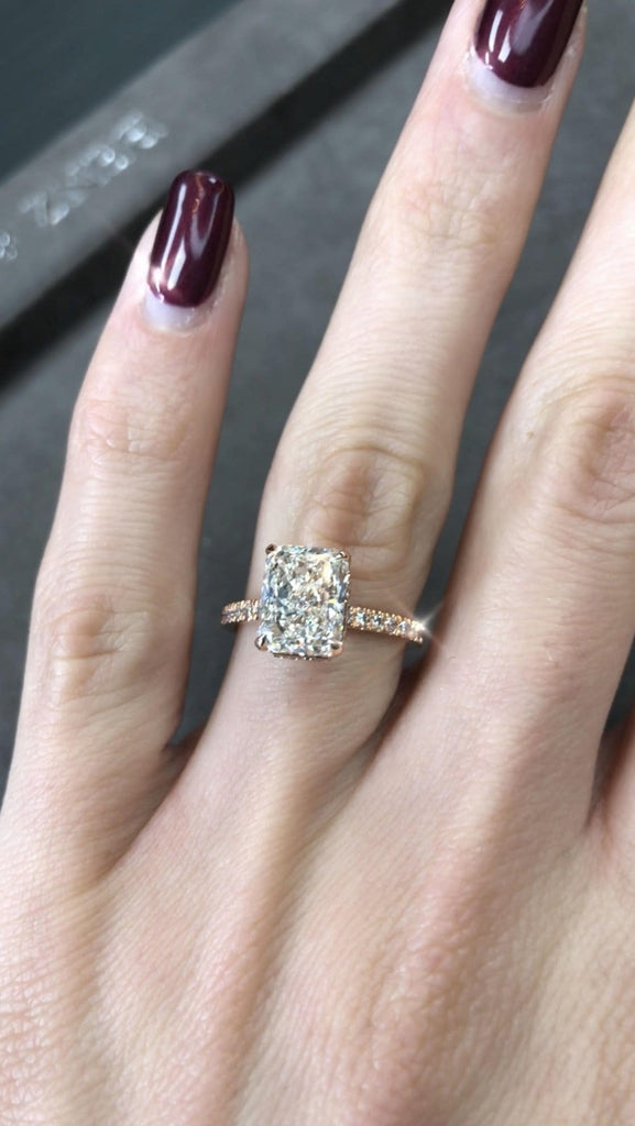 2 Carats Radiant Cut Micropaved Side Stones Hidden Halo Diamond Engagement Ring