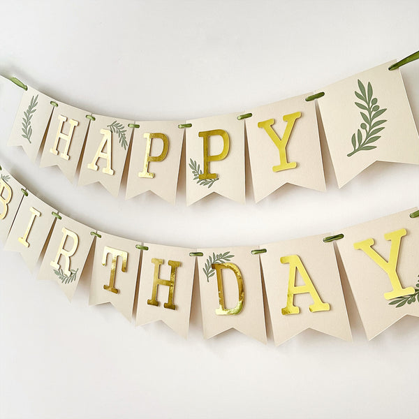 Greenery 1st Birthday Banner