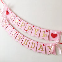 Valentine's Day 1st Birthday Banner