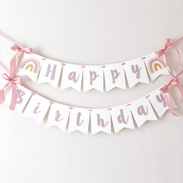 Boho Rainbow Happy 1st Birthday Banner