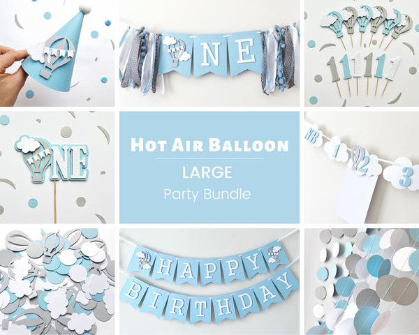Hot Air Balloon 1st Birthday Party Bundle