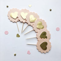 Blush Gold Heart Cupcake Toppers