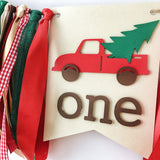 Red Christmas Truck One Highchair Banner