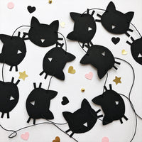 Cat Paper Garland Black Cat Birthday Party Decorations Bachelorette Party Decoration Kitten Birthday Garland Meow Birthday Banner Girls Room