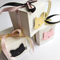 Cat Favor Boxes Black Gold Pink Cat Girl 5th Birthday Party Decorations Kitten Meow Birthday Cat Bachelorette Decorations Cat Candy Box