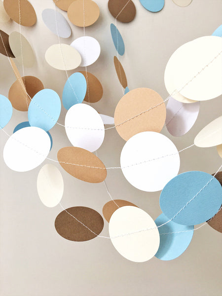 Teddy Bear Circle Paper Garland Teddy Bear Baby Shower Decoration Baby Boy 1st Birthday Photo Backdrop Boy Nursery Blue Brown Paper Garland