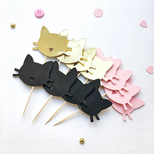Cat Cupcake Toppers Girl Birthday Cat Theme Party Decorations Cat Bachelorette Party Meow Baby Shower Table Decor Black Gold Cat Food Picks
