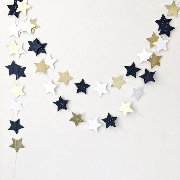 Navy Blue Gold Stars Garland