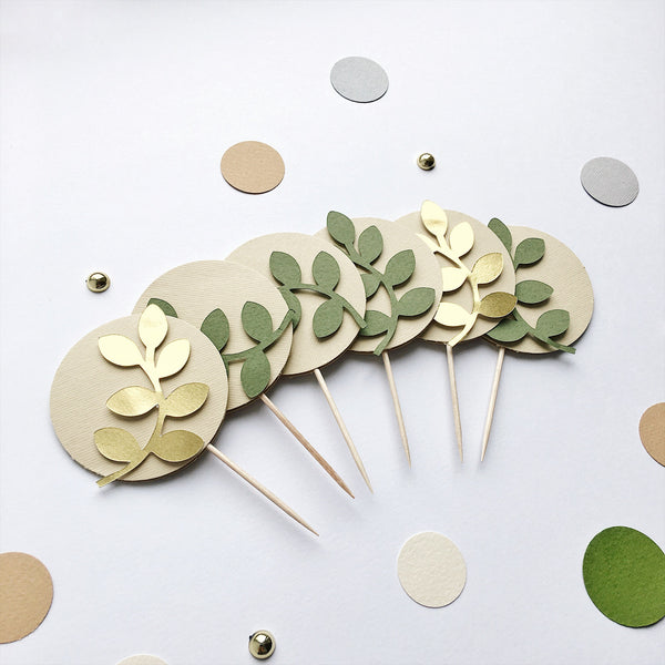 Greenery Cupcake Toppers GD003