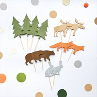 Woodland Animals Cupcake Toppers Woodland Theme Baby Shower Animals 1st Birthday Decorations Pine Tree Fox Bear Elk Toppers WL005