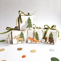 Woodland Favor Boxes Woodland Animals Baby Shower Gift Favor Boxes Woodland Theme Birthday Favors Woodland Fox Decorations Set of 12 WL008