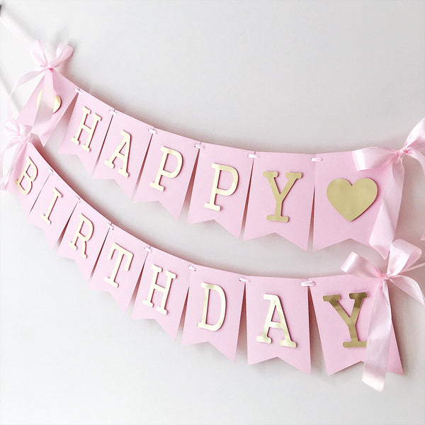 Pink Gold Happy Birthday Banner