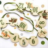 Woodland 12 Month Photo Banner Forest 1st Birthday Decorations Bear Moose Theme Animals 1st Year Photo Banner Zoo Birthday Sign WL012