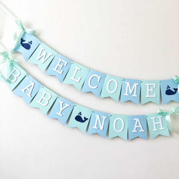 Whale Baby Shower Banner WP001