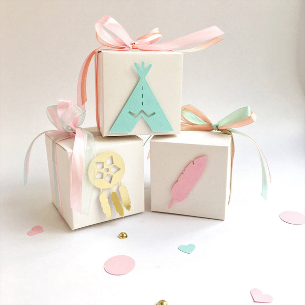 Boho Favor Boxes Wild One Girl Birthday Decorations Pink Mint Gift Favor Boxes Boho Baby Shower Dreamcatcher Tribal Party Set of 12 BD005
