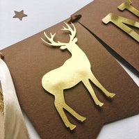 Deer One High Chair Banner Woodland Theme Boy 1st Birthday Decorations Little Buck First Birthday Party Highchair Sign Oh Deer Banner WL013